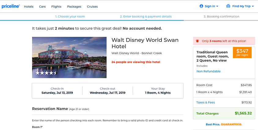 TravNow - Disney Swan - Priceline Pricing