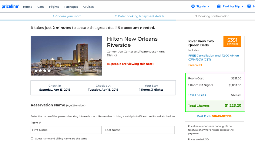 TravNow - Hilton New Orleans Riverside - Priceline